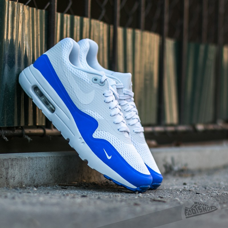 Discount Sale Nike Air Max 1 Ultra Essential - White / Pure Platinu / Blue Racer Shop No.65752570